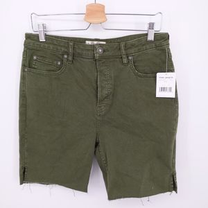 Free People Army Green Denim Shorts High Waisted